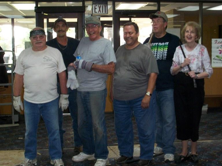 Library volunteers at work